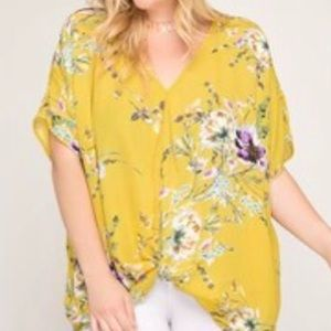 She & Sky Plus Size Front Twist Top